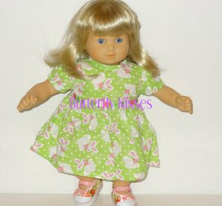 Doll Clothes Fit American Girl Bitty Baby Twin Girl Green Bunny Dress