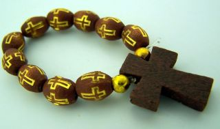 Womens 2 1 4 Brown Wood Bead Tau Cross Cord Finger Rosary Ring
