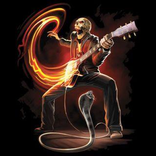 T Shirt Rock Band Skeleton Guitar Cobra SM XL
