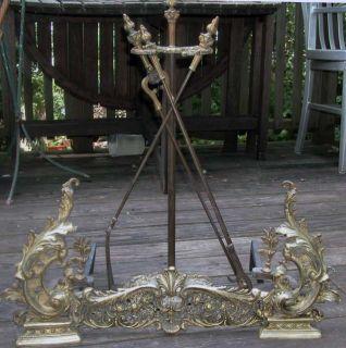 Antique Brass Art Nouveau Baroque Fireplace Fender Andirons Firedogs