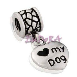 Love My Dog Eudora Silver Screw Dangle Charm Bead S1186