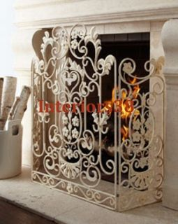 Country Chic ANTIQUED Hand Painted Shabby WHITE FIREPLACE SCREEN