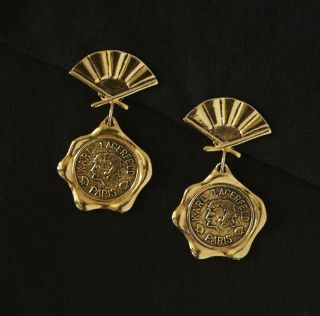 Vtg Karl Lagerfeld Designer for Chanel Haute Couture Coin Fan Earrings