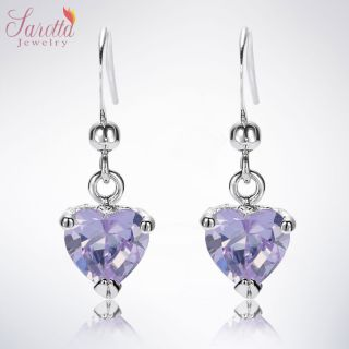 Fashion Jewelry Lady Heart Cut Purple Amethyst White Gold GP Dangle