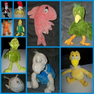 Dr Seuss Plush Characters Sneetch Cat in the Hat Grinch Fish Yertle
