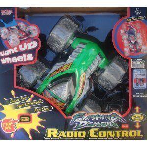 DEMON Remote Control Radio Car GREEN Light Up Wheels Super Fast