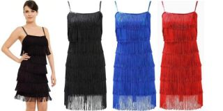 Stunning 1920s Style Fringe Flapper Party Evening Dress Size UK 8 14