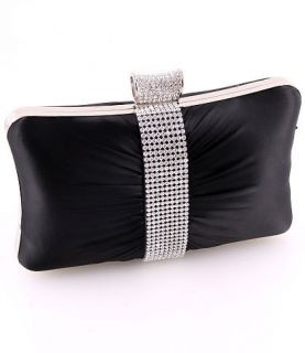 Black   Evening Clutch Bag Silver Metal Frame Swarovski Crystal Satin