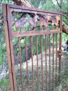 Equestrian Metal Gate Horse Ranch Entry Wrought Iron Steel Garden