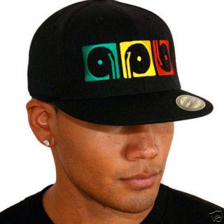 Record Playaz Rasta DJ Fitted Flat Bill Cap Hat Flexfit