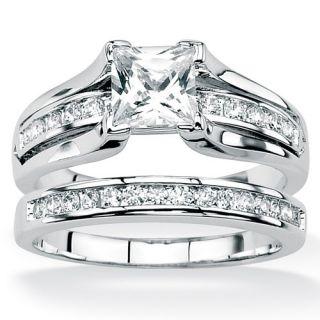 Palm Beach Jewelry Platinum Silver 2 Piece Round Cubic Zirconia Ring