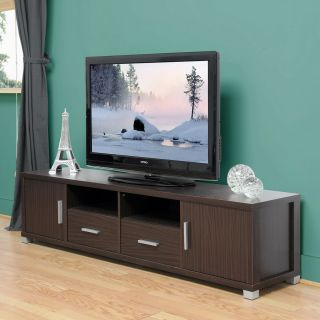 WALNUT WOOD VENEER MODERN FLAT PANEL TV STAND CREDENZA MEDIA CONSOLE