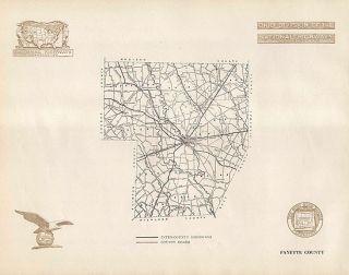 Fayette County Ohio Authentic Vintage Highway Map Washington