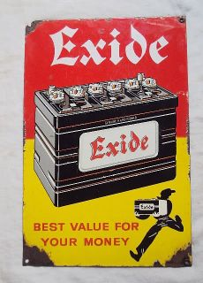 Exide Battery Vintage Porcelain Enamel Sign Very RARE