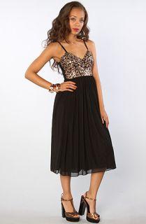 Motel The Missy Metallic Lace Empire Dress in Black Copper  Karmaloop