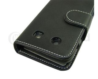Black Leather Flip Book Wallet Case Cover Pouch Bag for Blackberry