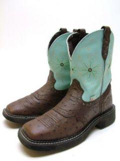Women L9981 Justin Gypsy Aqua Brn Faux Ostrich Cowboy Western Boots 6