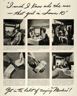 Modess Pads Train Travel Feminine Products Original Advertising