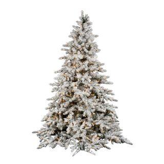 FLOCKED DOWNSWEPT CLEAR STAY LIT LIGHTS UTICA CHRISTMAS TREE PRELIT