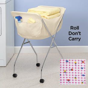 New Old Fashion Laundry Cart Basket on Wheels with Liner or