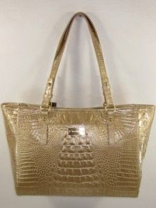 245 Brahmin Fizz Medium Arno Glossy Croco Embossed Leather Tote Bag