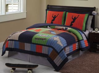 Cool Skate Extreme Sport Boy Twin Complete Bedding Set