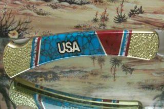 Yellowhorse USA Buck 110 w American Flag Cutout