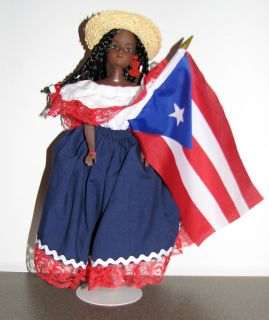 RICO PUERTO RICAN FLAG PR FLAG DOLL CARIBBEAN ISLAND DOLLS COLLECTION