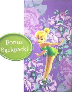 Tinkerbell Floral Sleeping Bag Backpack Set Purple Disney Fairies