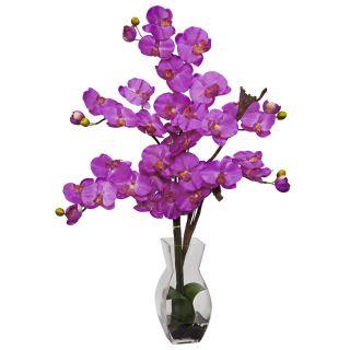 Silk Fake Orchid Purple Flower Arrangement w Glass Vase 1191 Or
