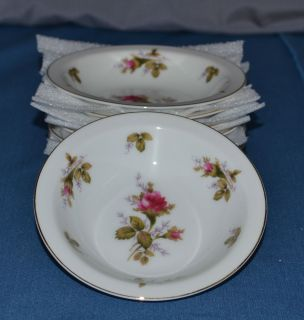 Floral Park Moss Rose 7 Fruit Dessert Bowls Gold Trim Fine China of