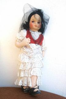 EARLY 1930s MAGIS ITALY FLAMENCO DANCER ART DOLL CLOTH SPANISH FASHION