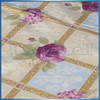 Floral Flower Vinyl Table Cloth Cover Waterproof Dining Table