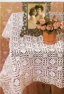 Lacy Fancy Flower Table Cloth Cover Crochet Pattern Old
