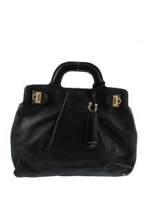 Salvatore Ferragamo Black Leather Embellished Satchel Handbag Purse