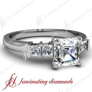 Set Asscher Cut Four Stone Diamond Engagement Ring F Color SI1