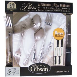 24 pc Gibson Stainless Steel Flatware Set Spoons Forks Knives