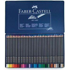 FABER CASTELL 36 Art Grip Colored Pencils in Metal Tin Box   Art Draw