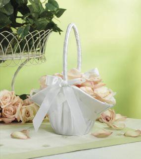 White Satin Wedding Flower Girl Basket 9 5 Tall