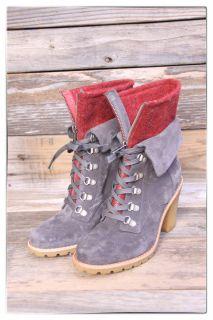 UGG Australia Womens Fabrice Charcoal Suede Red Wool Heel Boot US 7 UK