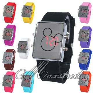 Red LED Digital Wrist Watch Mirror Face Soft Silicone Band Gift