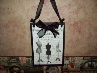 Paris decor dress forms plaque sign French decor wall hanging