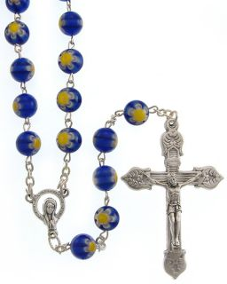 Italian Blue Murano Glass Catholic Beads Mary Rosary