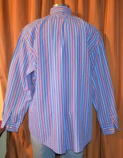 Faconnable Long Sleeve Blue Red Pink Purple White 100 Cotton Stripe