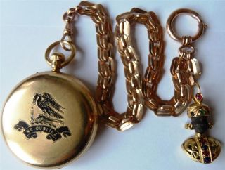 Historical 18K Gold Enamel Dent London Repeater Watch Chain Fob