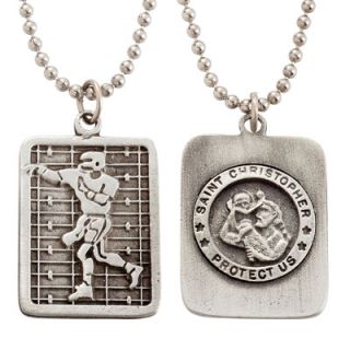 Football Dog Tag on 22 Stainless Steel Chain Sports Jewelry