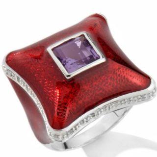 Chi by Falchi Sterling Silver Amethyst Diamond Red Enamel Ring 7 $