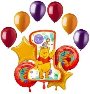Winnie Pooh 1st First Birthday Balloon Bouquet Party Decoration Gift