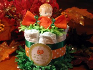 LIL LITTLE FALL PUMPKIN mini diaper cake centerpiece ~ baby shower