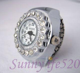 Vintage Silver Crystal Men Lady Ring Finger Watch